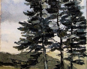 "Original Oil on Canvas Evergreen Trees 7 1/2"" x 11"""