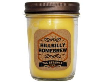 Hillbilly Homebrew Scented Beeswax Mason Jar Candle | 8 Oz