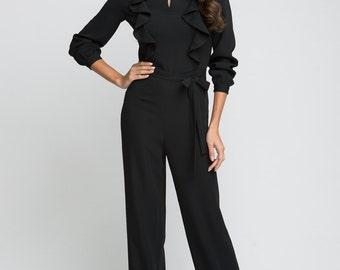 Beautiful Evening Jumpsuit Black.Women Jumpsuit Romper.Prom Jumpsuit Ruffles.
