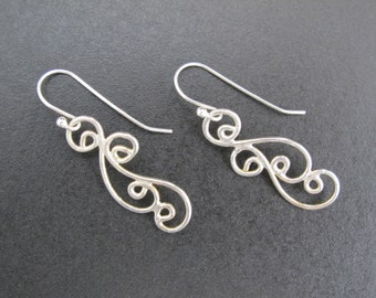 Earrings, Drop Handcrafted Sterling Earrings Metalwork