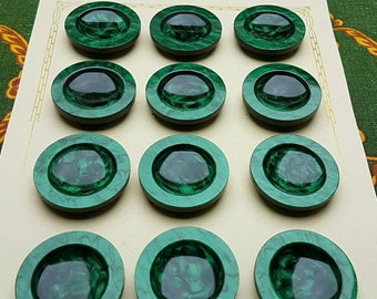 Antique French Paris-Mode 1930's Haute Nouveau Rich Green Mother of Pearl Irridescent Buttons on Original Card-Vintage Sewing Couture