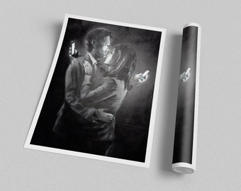 Banksy Mobile Lovers Archival Canvas Print