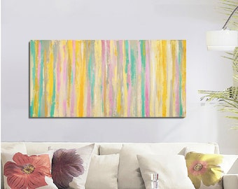 large Abstract Painting, Acrylic on Canvas, Coloful Abstract Tree Painting