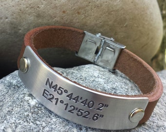 FREE SHIPPING-Personalized  GPS Leather Bracelet, Gift For Men, Boyfriend Gift, Genuine Leather Men Bracelet,Gift for him, Birthday Gift