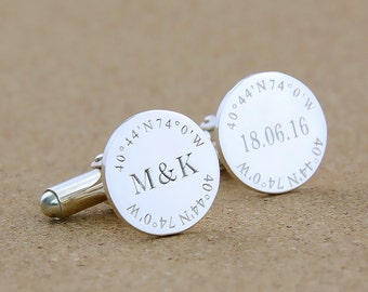 Groom Wedding Cufflinks,Coordinate Cufflinks,Personalized Monogram Cufflinks,Groom Cufflinks,Date and Initials Cufflinks,Engraved Cufflinks