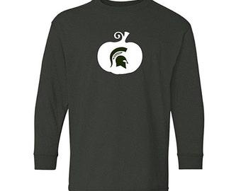 MSU Spartans Halloween Long Sleeve Shirt, Spartan Pumpkin