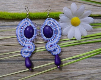 earrings / soutache technique / handmade 10cm