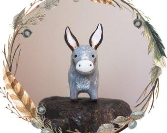 Baby Burro/Donkey Spirit Animal Totem // Miniature Handmade Polymer Clay Animal Figurine