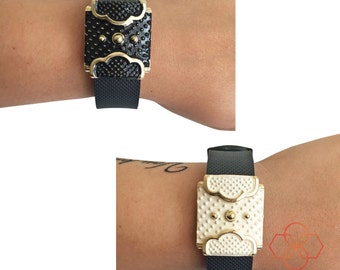Charm to Accessorize Fitbit Charge or Charge HR -The WILLOW Black or Cream and Gold Charm to Dress Up Your Favorite Fitness Activity Tracker
