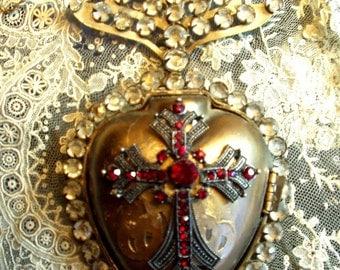 Vintage French Sacred Heart Ex Voto Reliquary 1800s Replica