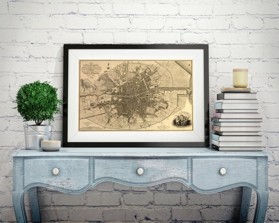 Old Dublin Map Ireland Wall Art Large Canvas Sizes Home Decor