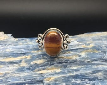 Tigers Eye Ring // 925 Sterling Silver // Beaded Swirl Setting // Tiger's Eye Ring