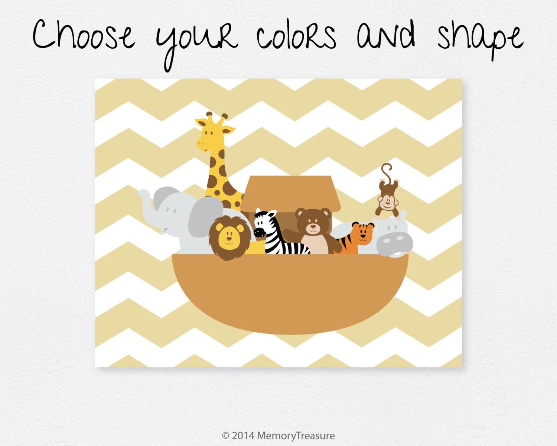 noahs ark nursery decor wall art print baby boy baby