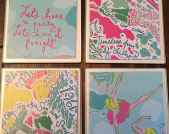 UpCycled Lilly Pulitzer Inspired Coasters-Let's Party