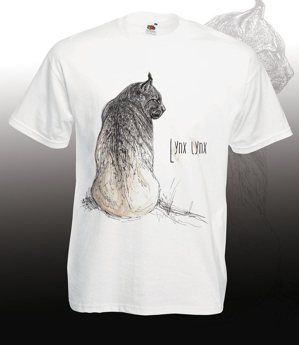 Lynx tshirt Nature wildlife hand drawn big cat t shirt
