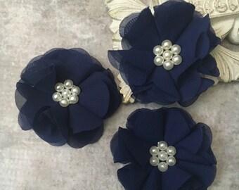 Navy flower, chiffon flower, pearl flower, fabric flower, headband flower, supply flower, ballerina flower