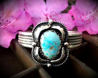 Pilot Mountain Turquoise Cuff Bracelet / Artisan Jewelry / Bohemian Jewelry / Southwestern Jewelry / SIZE M