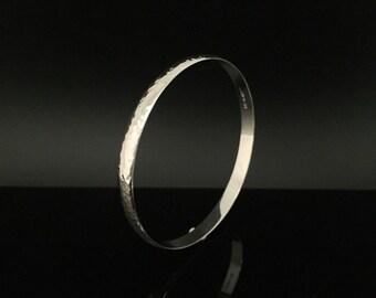 Wide Hammered Silver Bangle Bracelet - 925 Sterling Silver -- Silver Bangles