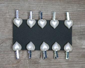Heart Pegs, Wedding Pegs, Name Holders, Wedding Accessories, DIY Wedding, Wedding Heart, White Heart Pegs, Heart Name Holders, Wedding Heart