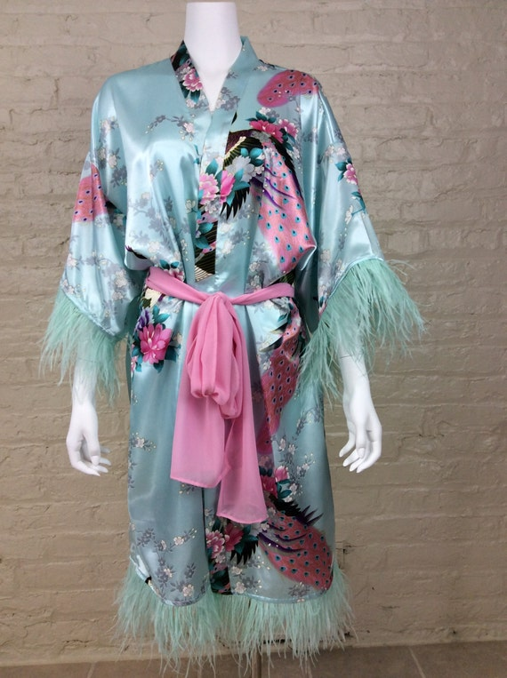 Vintage Inspired Nightgowns, Robes, Pajamas, Baby Dolls 1920s Retro Style Silk Kimono with Ostrich Feather Trim  AT vintagedancer.com