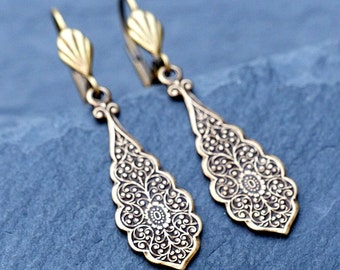 Vintage Brass Earrings - Art Deco