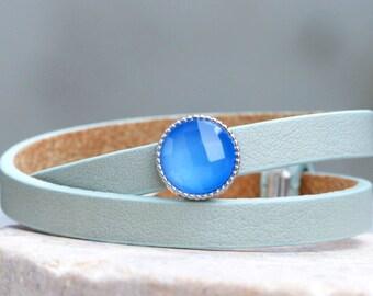Aqua Chalcedony - leather wrap bracelet with gemstone