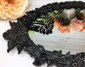 Black Rose Vanity Mirror Dresser Tray Antique Dresser Vanity, Boudoir, Mirror Dresser Tray, Perfume Tray, Home Decor, Photography Prop #729