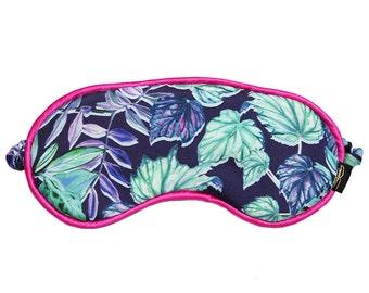 Navy Leafy Jungle Printed Silk Eye Mask