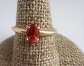 Orange Sapphire 14k yellow Gold Ring |   Sapphire Jewelry |  14K Gold Sapphire Ring | Solitaire Orange Sapphire Ring | Gold Ring