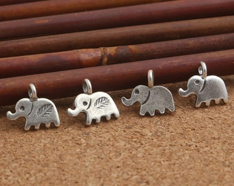 5 Small Elephant Charms Karen Hill Tribe Silver, Karen Tribe Silver Leaf Elephant Charm, Hill Tribe Silver Elephant Charm, Thai Silver -E484