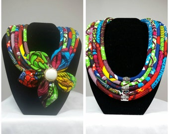 Five strands rope Ankara statement neckwear - with removable flower.