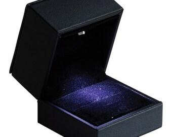 Medium Black Leatherette LED Lighted Engagement Wedding Ring Presentation Ring Box