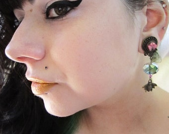 """The Busy Bee dangle stretched earrings EAR PLUGS pick the gauge size 2g, 0g, 00g, 1/2"""", 9/16"""", 5/8"""", 11/16"""" aka 6, 8, 10, 12, 14, 16, 18mm"""
