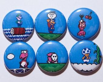 "Set of 6 Super Mario Bros 2 1"" Pinback Buttons"