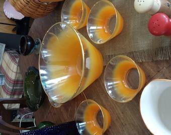 Blendo large orange salad/popcorn bowl with 6 matching bowls.