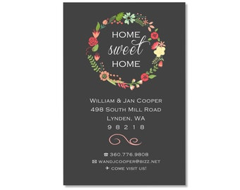 4x6 Home Sweet Home Floral change of address - Custom moving card - change of address card - Printable file