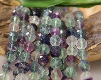 Fluorite  8mm 10mm  Faceted Round  Gemstone Beads -15 inch strand