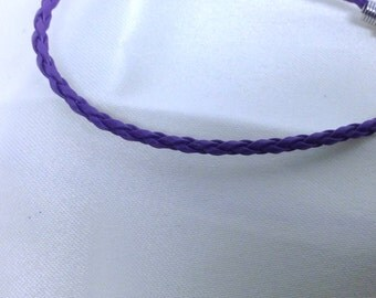 Purple Leather Braided Bracelet , men , women, teens, simple , clean, wrist, gift