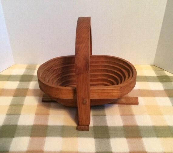 Handmade Collapsible Wooden Baskets : Handmade wooden collapsible basket trivet