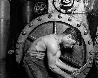 Power house mechanic working on steam pump by Lewis Hine - 1920 - vintage photo - SKU 0215