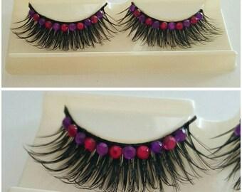 60% OFF Pink/Purple Rhinestone False Eyelashes LL203