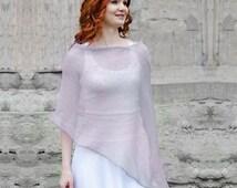 Natural Linen Poncho Lavender grey poncho wrap knit linen summer poncho Pastel poncho cape beach wear Wedding Accessories