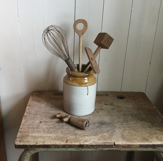 Five French Vintage Wooden Kitchen Utensils Whisk By