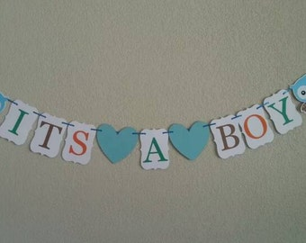 "Owl ""its a boy"" banner. Great for baby shower. Free shipping USA"