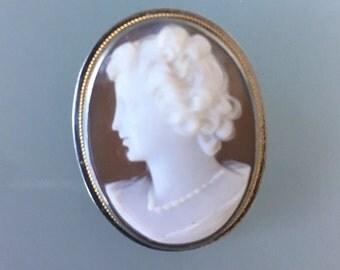 Vintage Sterling Silver Brooch Necklace Cameo
