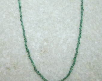 Uncut Emerald Beads Gemstone Necklace, Uncut Emerald Beads Jewelry with 925 Sterling Silver Clasp