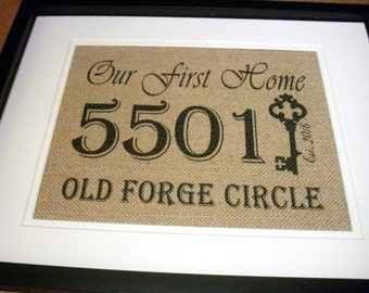Address Sign, Framed Address Plaque, New Home Housewarming Gift, Burlap Address Sign Personalized Address Sign, First Home Sign