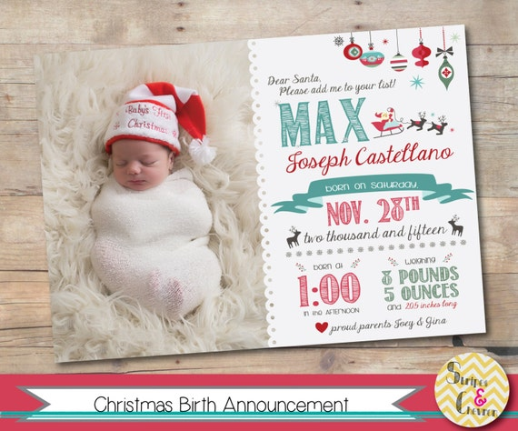 Christmas Birth Announcement Newborn Christmas Card Template
