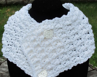 Crochet Waffle Stitch Cowl Scarf Neckwarmer With Buttons In White Ready to Ship