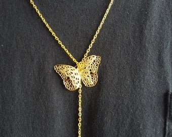 The Golden Butterfly...lariat necklace